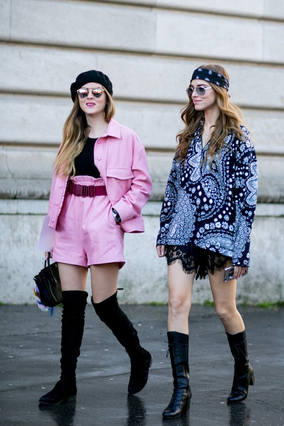pink-top-shorts-black-beret-boots-street-style